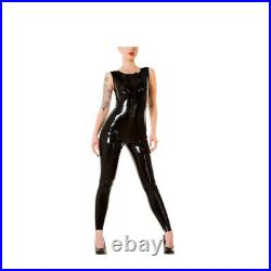 100%Latex Rubber Black sleeveless Catsuit Tight Front zip Suit Unifor0.4mm S-XXL