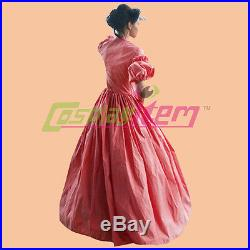 1860s Red Gothic Victorian Civil War Ball Gown Southern Belle Dress Costume