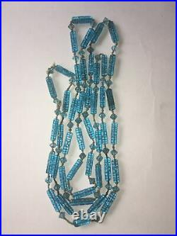 Antique Blue Pressed Glass Beads knotted necklace civil war era maybe read