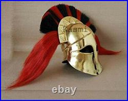 Brass Greek Helmet With Red 7 Black Plume Knight Costume Replica For Halloween