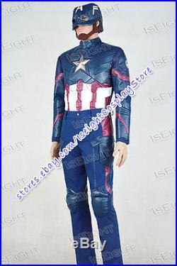 Captain America 3 Civil War Steve Rogers Cosplay Costume Outfit Halloween Cool