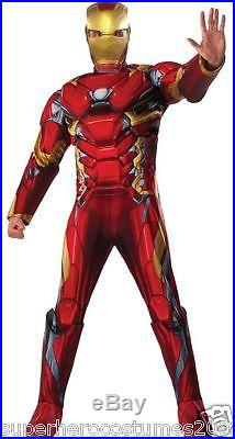 Captain America Civil War Iron Man Deluxe Muscle Adult Costume New 810968