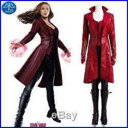 Captain America Civil War Scarlet Witch Wanda Maximoff Cosplay Costume Red Dress