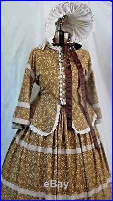 Civil War Victorian Day Dress With Rows of Lace and Matching Hat WithSun Apron L-XL