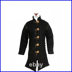 Medieval Black color Thick Padded Gambeson Coat Armor cotton larp costume dress