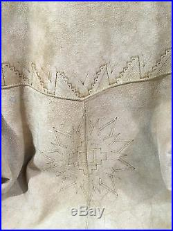 Mens Vtg Suede Jacket Western Cowboy Lace Sleeve M Reeinactment Costume Country