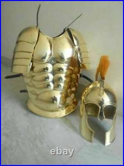 Muscle Armour Jacket With Shoulders Armor & Troy Armor Helmet Costume
