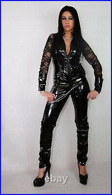 PVC & MESH CATSUIT BLACK RED BLUE PINK GREEN WHITE 18-24 UK New With Tags