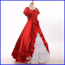 Retro Civil War Southern Belle Prom Dress Victorian Period Ball Gown 3 Colors