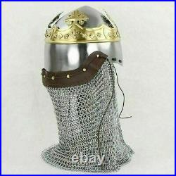 Robert the Bruce Bascinet Helmet Medieval Knight Armor With Chain mail Costume