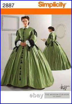 Simplicity Sewing Pattern 2887 Victorian Dress Gown Civil War Costume 8-14 16-24