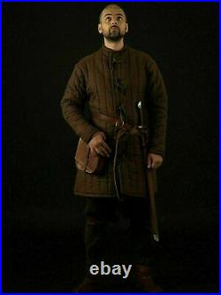 Thick Padded Brown Gambeson Medieval Suit Of Quilted Costumes Sca larp