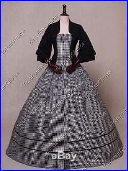 Victorian Civil War Gingham Period Dress Gown Theater Reenactment Clothing 160