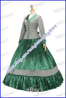 Victorian Tartan Civil War Ball Gown Ruffled Ball Gown Dress With Bow Party
