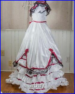 WHITE RED SOUTHERN BELLE GOWN Costume Hoop Theater Festival Civil War Small