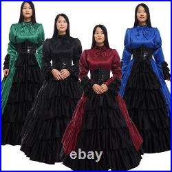 Women Dress Ball Gown With Bustle Corset Civil War Costume Long Sleeve Bowknow