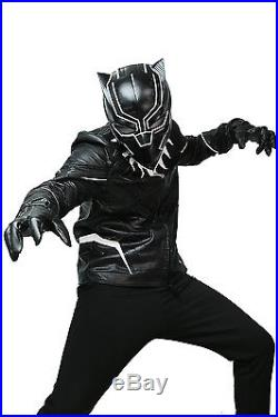 XCOSER Black Panther Jacket Movie Civil War Cosplay Costume Faux Leather Jacket